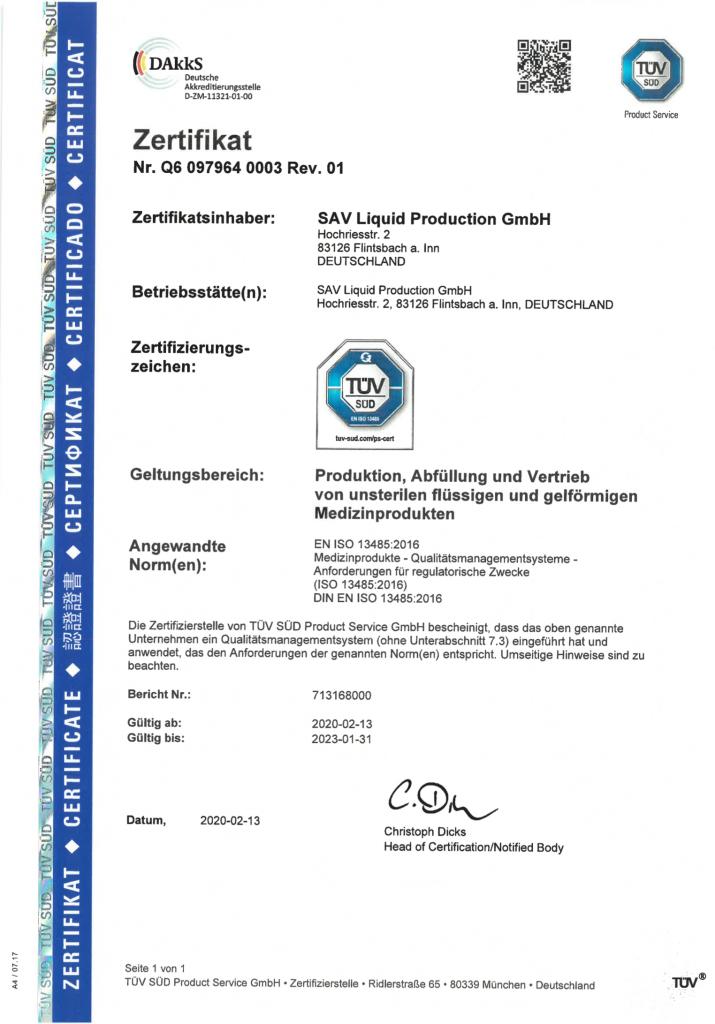 ISO Zertifikat Deutsch